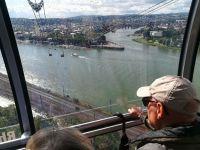 Blick aus der Panoramagondel auf das Deutsche Eck und die Koblenzer Altstadt